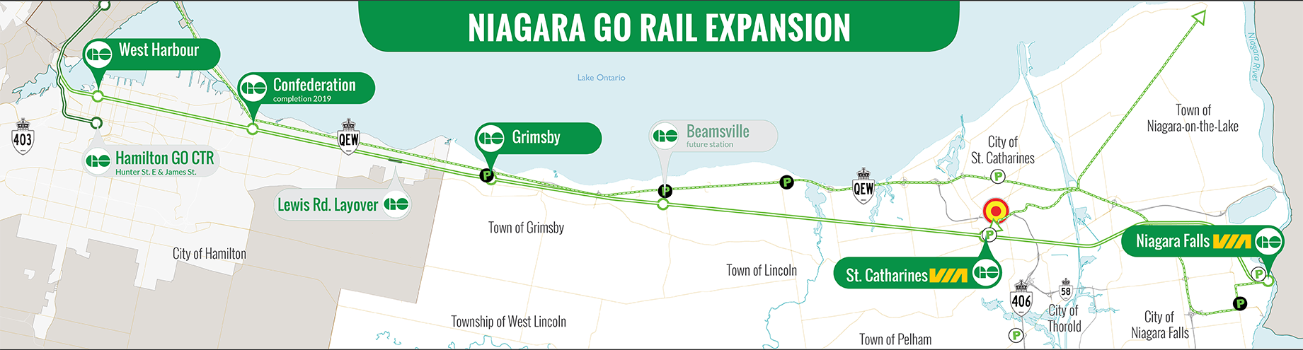 A map representing the three confirmed GO station areas in Niagara. Confirmed stations are located in Grimsby (west of Casablanca Boulevard and south of South Servic