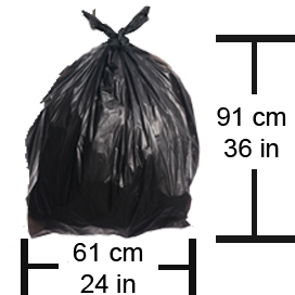 Garbage Bag Dimensions: Height no more than 91 cm (36 inches) and Diameter no more than 61 cm (24 inches)